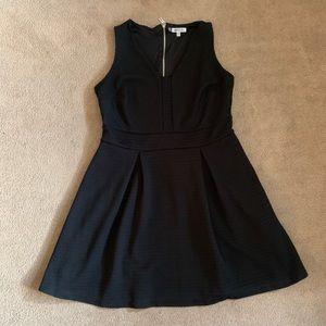 EUC black fit and flare midi dress.